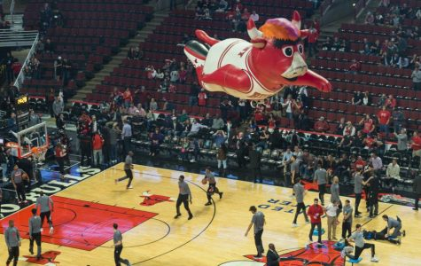 """A float of the Chicago Bulls' mascot, Benny the Bull, takes flight in the United Center in 2016. The final week of ESPN's doc-series, """"The Last Dance,"""" saw the Bulls, led by Michael Jordan and company, win their final championship."""