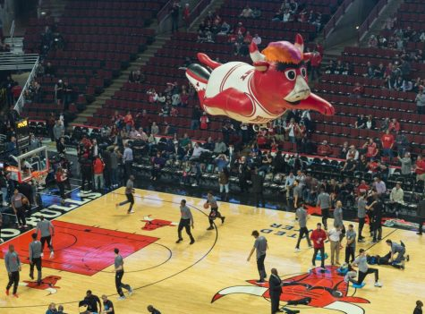 "A float of the Chicago Bulls' mascot, Benny the Bull, takes flight in the United Center in 2016. The final week of ESPN's doc-series, ""The Last Dance,"" saw the Bulls, led by Michael Jordan and company, win their final championship."