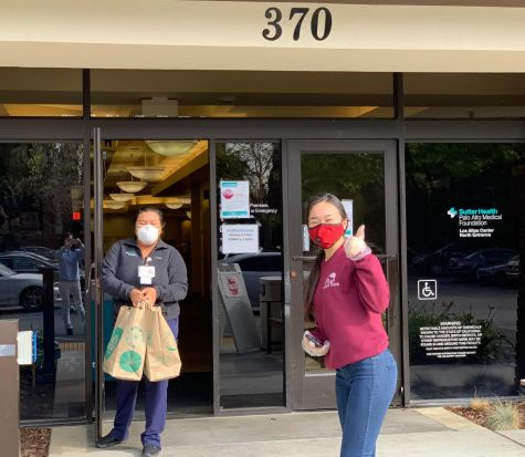 "Members of Fighting for Heroes drop off masks at a local Bay Area hospital after a successful round of fundraising. ""Ever since I was younger, what I"