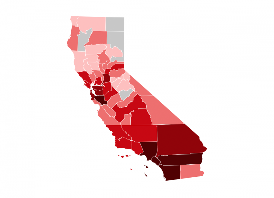 A map of COVID-19 cases in California by county details the extent of the virus. The map was last updated on April 12.