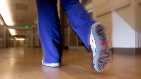An Oregon Health and Science University (OHSU) nurse wears a version of the Air Zoom Pulse created by OHSU patient Sawyer Miller.