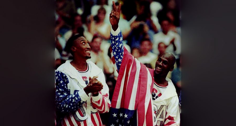 Both Michael Jordan (right) and Scottie Pippen (left) won gold medals at the 1992 Olympics as part of the Dream Team.