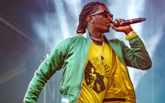 Rapper, Young Thug, performs at a music festival.