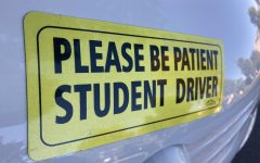 Many teens place bright yellow stickers on their cars when they practice driving, identifying them as student drivers.