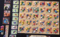 Five Tribes is setup and ready to play.  The colorful game components make the game pop and stand out.
