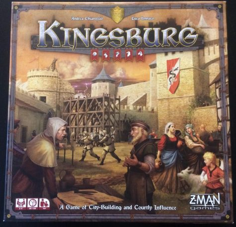 The box cover for the second edition of Kingsburg.  The game is designed by Andrea Chiarvesio and Luca Iennaco and published by Z-MAN Games.