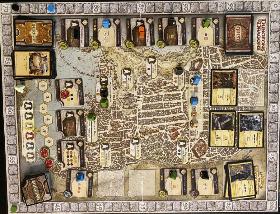 The middle of a game of Lords of Waterdeep.