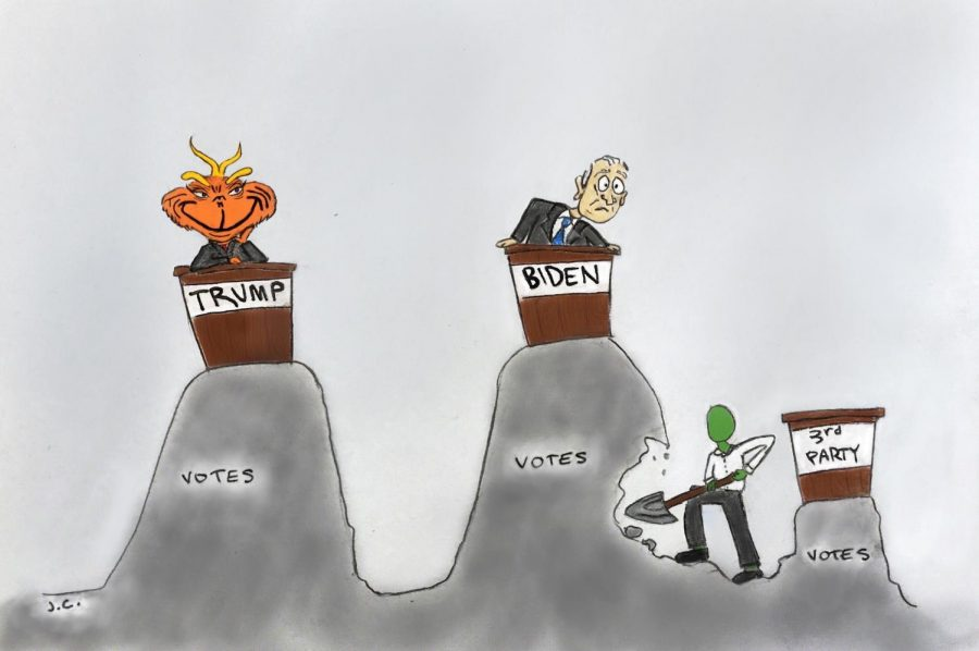 The last four years have indicated that the U.S. is doomed if Trump is re-elected. Third party votes take votes away from Biden, so even if he's not the first choice, it's crucial to settle for Biden.