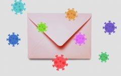 Bacteria lingers near and on an envelope.