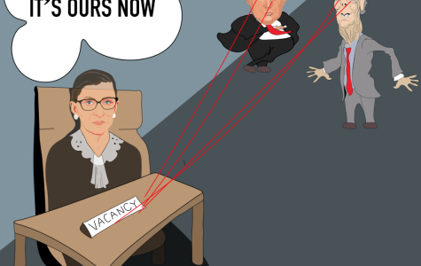 The cartoon depicts Trump and Mitch McConnell plotting to fill Ruth Bader Ginsburg's vacancy.