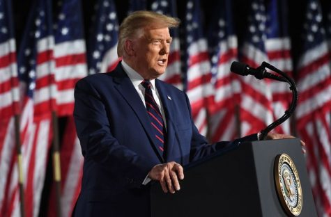 US President Donald Trump delivers his acceptance speech for the Republican Party nomination for reelection during the final day of the Republican National Convention from the South Lawn of the White House on August 27, 2020 in Washington, DC.