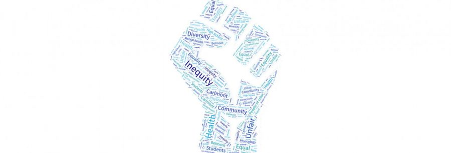 Above is an image depicting words that describe inequity amongst minority groups.