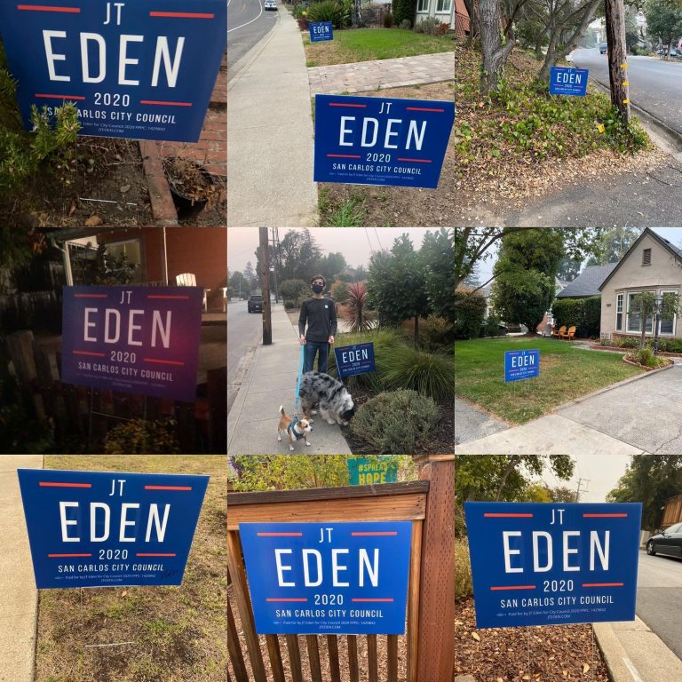 San Carlos voters show support for JT Eden with yard signs.