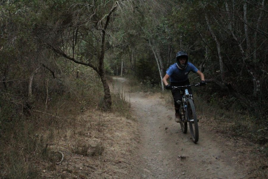 Carl Bussiek, Sophomore, rides the Canyon Trail in Hidden Canyon park.