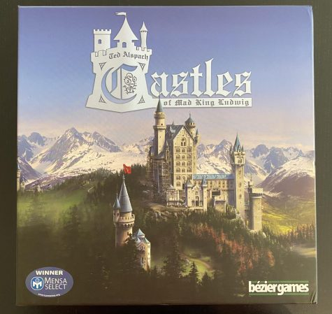 The box cover for Castles of Mad King Ludwig illustrates the quality of artwork within the game.