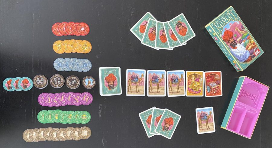 Jaipur is a small two-player game. The cards and tokens are good quality and the artwork is nice too.  The game comes in a well-made insert.