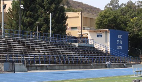The home bleachers at Carlmont sit empty as Central Coast Section sports have not yet begun. It is still uncertain whether or not fans will be able to attend games.