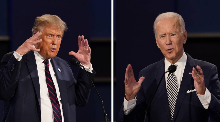 President Donald Trump, left, and former Vice President Joe Biden during the first presidential debate on Tuesday, Sept. 29, 2020, at Case Western University and Cleveland Clinic, in Cleveland, Ohio.