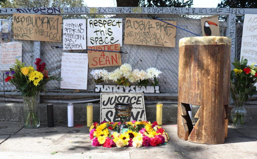 A memorial for Sean Monterrosa that family members put together.