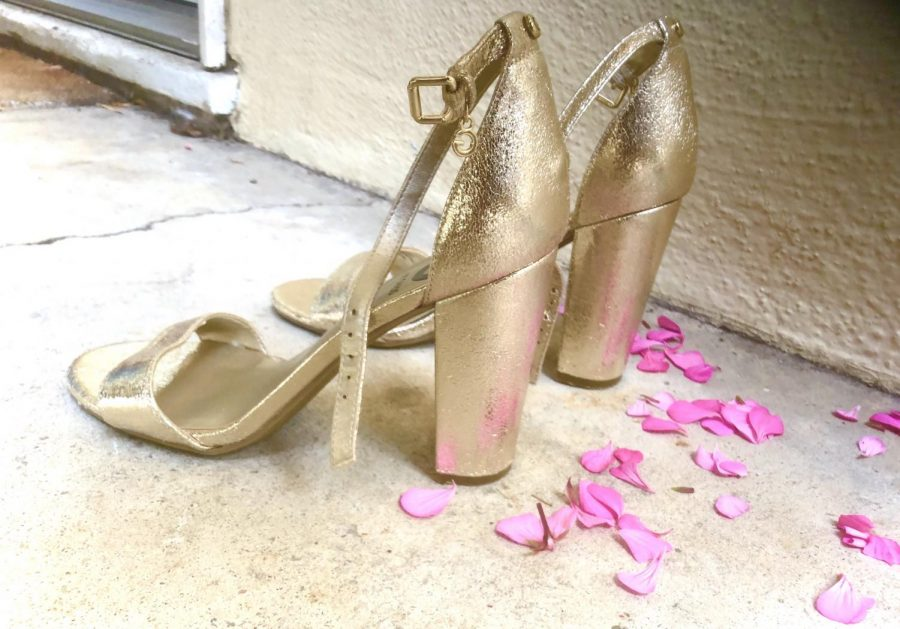 Feminist activists and activists against child marriage often use child-sized heels and flower petals as symbols for child brides. This is a recreation of some symbolic pieces they have created.