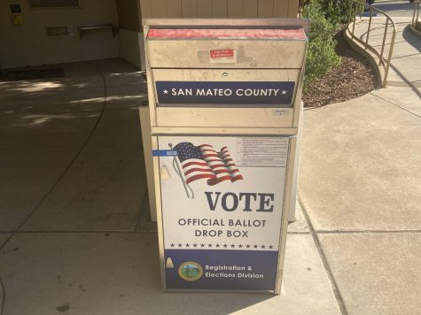 The San Mateo County ballot box sits in front of the city hall.