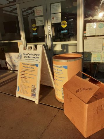 "Aiming for contactless donations, San Carlos YAC had set up boxes for donation drop off. ""We want to limit contact,"" Devalcheruvu said."