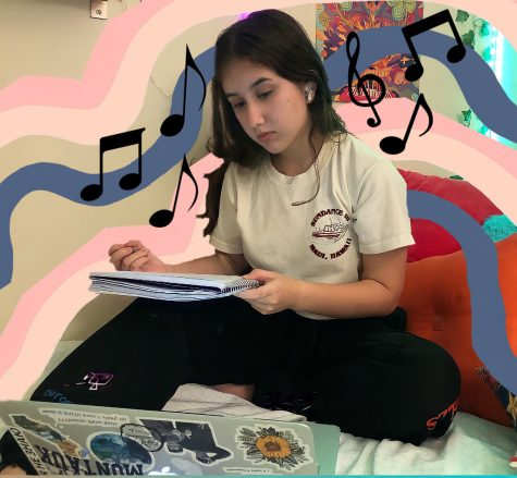 Sophomore Rachel Erlikhman listens to music while completing her math homework.