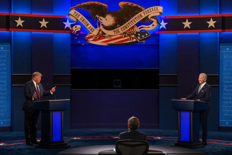 US President Donald Trump (L) and Democratic Presidential candidate and former US Vice President Joe Biden start exchanging during the first presidential debate at Case Western Reserve University and Cleveland Clinic in Cleveland, Ohio, on September 29, 2020.
