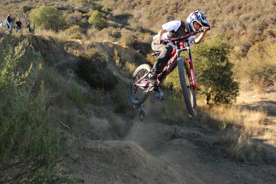 Local rider Jared Romero styles over the