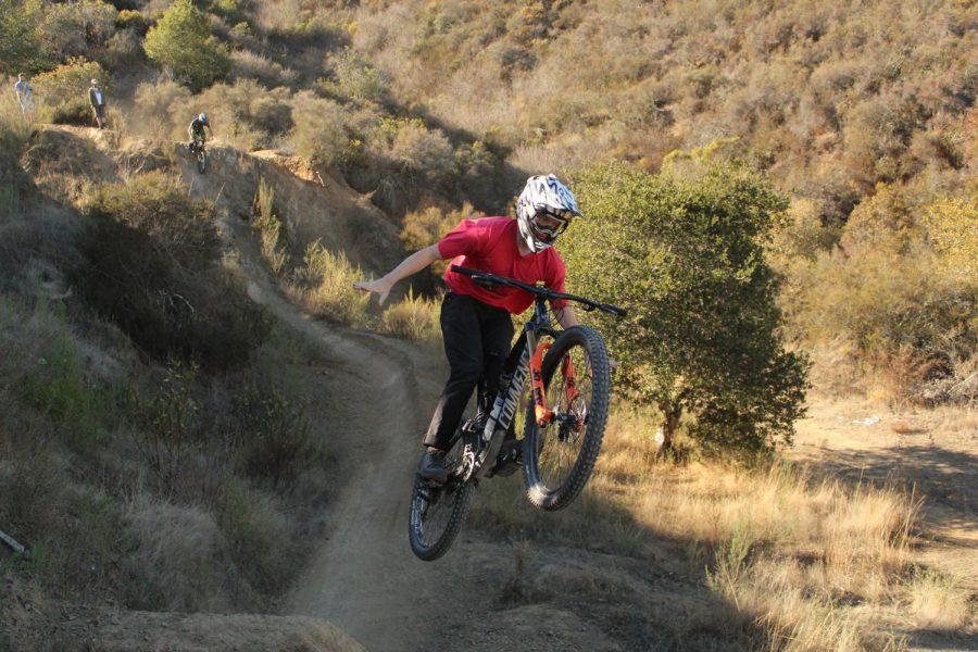 A local rider pulls a big suicide no-hander on the