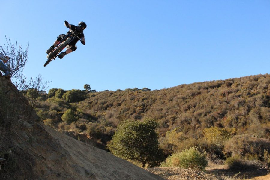 Local rider Keith Morelan soars over the
