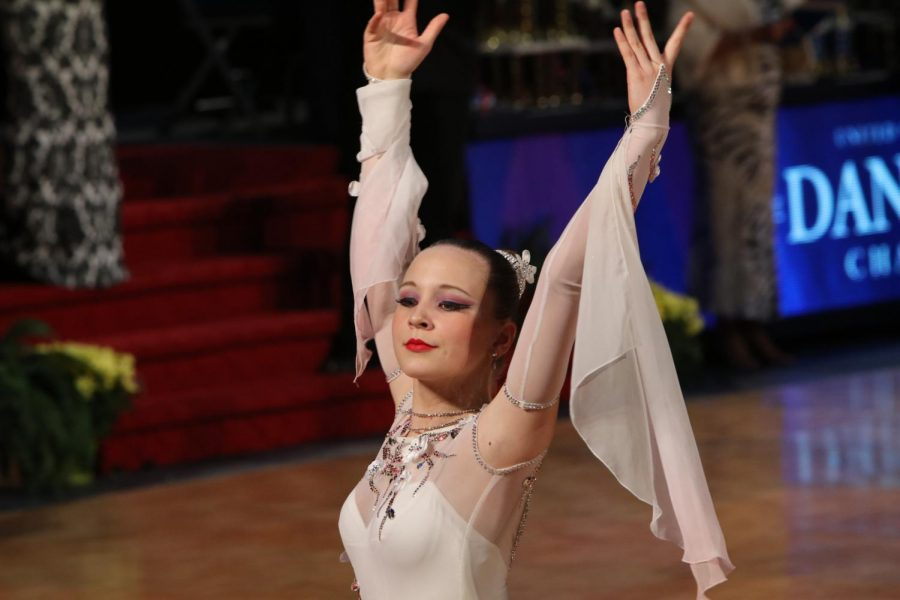 Dancer Lora Simakova performs at the United States National Amateur Dancesport Championships.