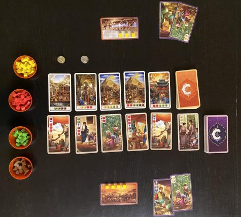 This photo displays the various game components and how the game is set up.