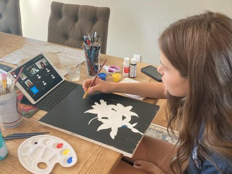 Savannah Meadow, a junior at Design Tech High School, takes a virtual art class.