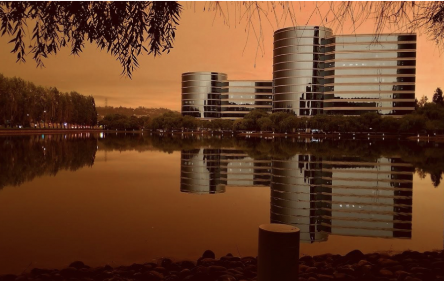 On Sept. 10, the sepia tint caused by the active California wild fires reflects off of the water beside Oracle headquarters.