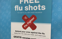 Local pharmacies promote the influenza vaccine to customers.