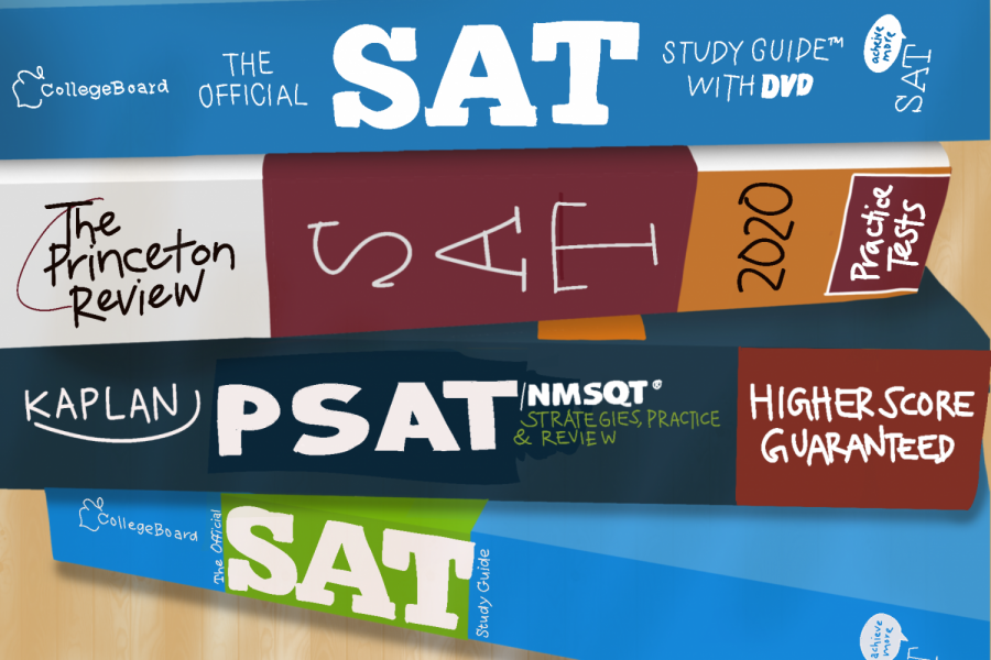 A student's desk is filled with SAT and PSAT prep books in anticipation for the tests.