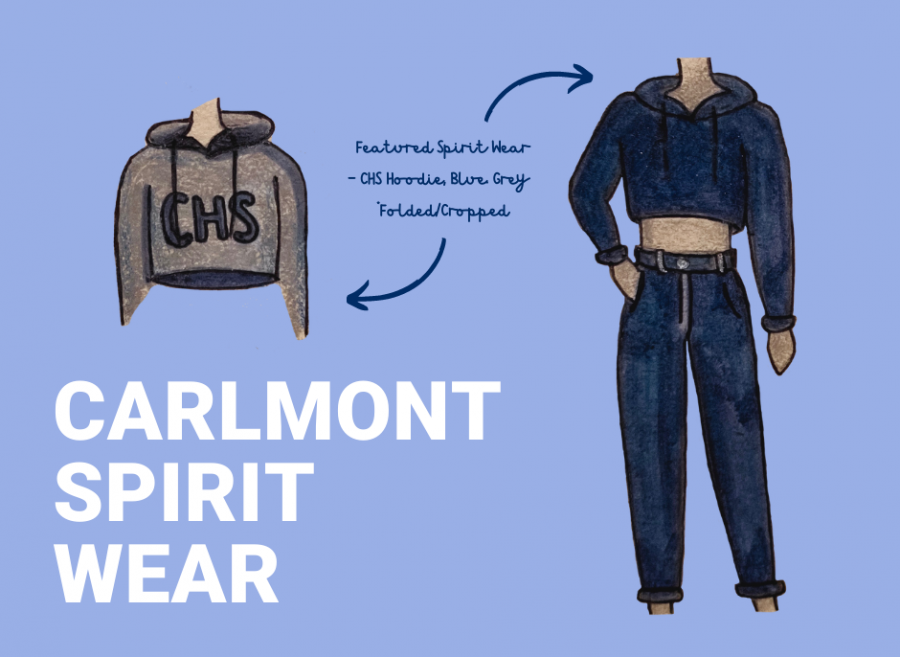 For her marketing class, Grace Zheng, a sophomore, created an artistic post to advertise Carlmont spirit wear.