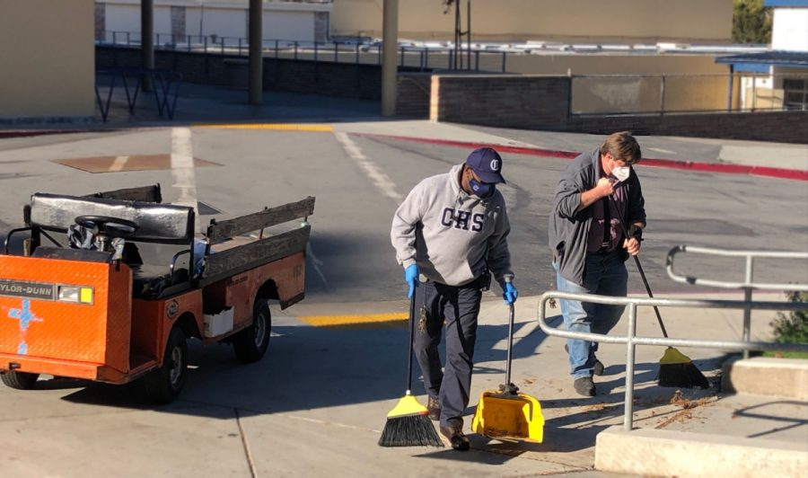 "Custodians, like Irwin Dillon and Gary Hogan, don't clean the classrooms unless requested, so they are usually outside, cleaning the grounds and doing their projects. ""We've been able to do some maintenance and projects that we wouldn't normally be able to accomplish,"" Steunenberg said."