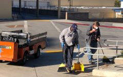 """During the pandemic, custodians, like Irwin Dillon and Gary Hogan, don't clean the classrooms unless requested, so they are usually outside, cleaning the grounds and doing their projects. """"We've been able to do some maintenance and projects that we wouldn't normally be able to accomplish,"""" Steunenberg said."""