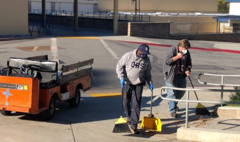 "During the pandemic, custodians, like Irwin Dillon and Gary Hogan, don't clean the classrooms unless requested, so they are usually outside, cleaning the grounds and doing their projects. ""We've been able to do some maintenance and projects that we wouldn't normally be able to accomplish,"" Steunenberg said."