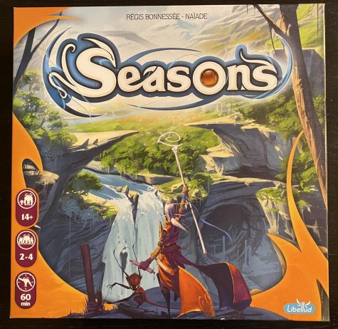 The box cover for the board game Seasons.