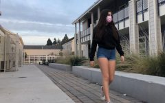 Emily Hall, a sophomore, walks around school in shorts.