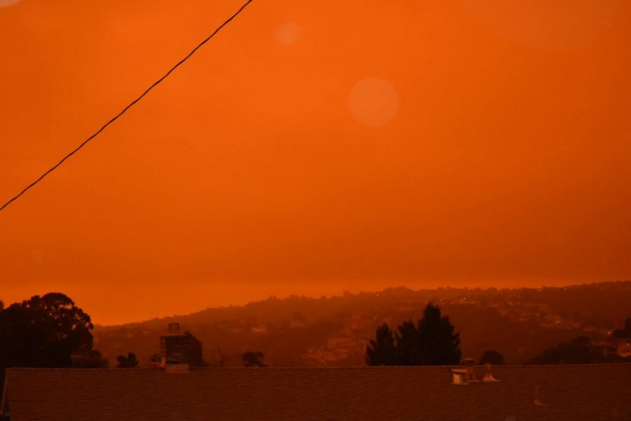 As a result of smoke from an abundance of fires in Northern California, Oregon, and Washington blowing into the Bay Area, the sky appeared a bright orange.