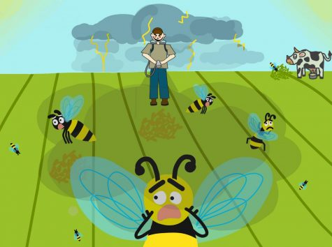 Nearly one-third of all food is pollinated by bees. Without them, there'd be less strawberries, apples, almonds, and alfalfa, which feed the cows that affect the meat and dairy industry. As their population comes to a decline, the use of pesticides continue and the fall of bees continue.