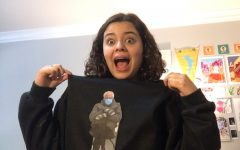 Noe Foehr shows off her Bernie Sanders inspired crewneck, donning his famous Inauguration Day pose.