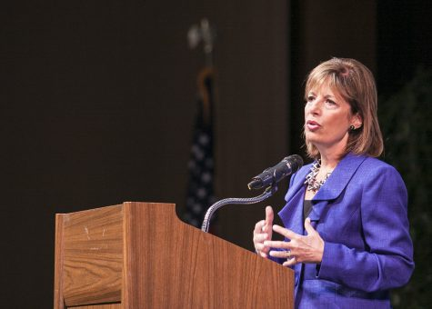 Congresswoman Jackie Speier speaks at Skyline College. She won the 2020 election in California for the 14th Congressional District.