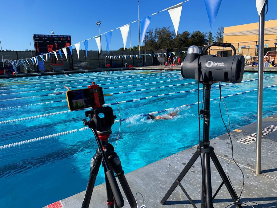 Cameras livestream Carlmont's swim meet, ensuring audiences can watch from a distance.