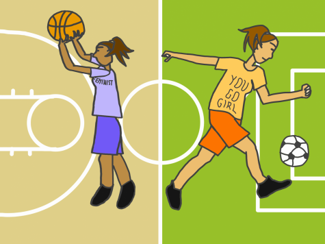 Women represent the feminist movement on the court and field.