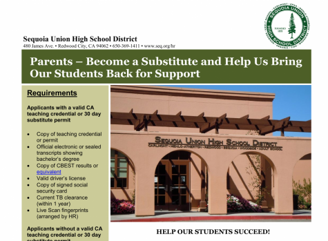 SUHSD calls for parents to become on-campus substitute teachers for the remainder of the 2020-2021 school year.
